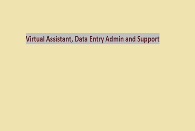 Virtual Assistant, Data Entry Admin and Support