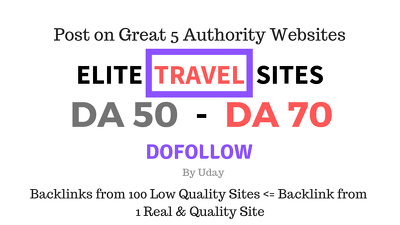 Guest post on Elite Travel Websites having DA 50 up to DA 70