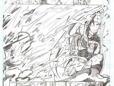 Panel a comic book page (pencil only)