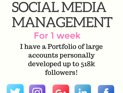 Manage 2 social media accounts for 1 week