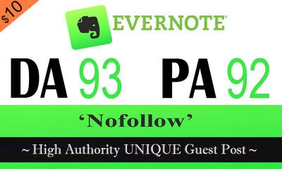 Write & Publish Post on Evernote.com DA-93 PA-92 Dofollow