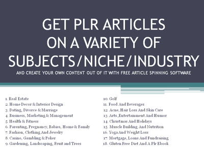 Give Top Quality PLR Articles on a variety of Subjects