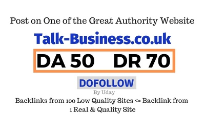 Publish a guest post on Talk-Business.co.uk DA50, DR70