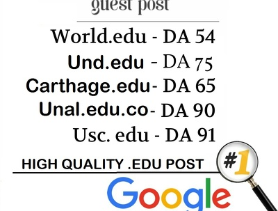 Write and Publish 5 EDU guest posts DA 80+ with Dofollow links