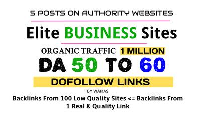 Publish 5 Guest Posts on Business Niche DA 50 + Dofollow