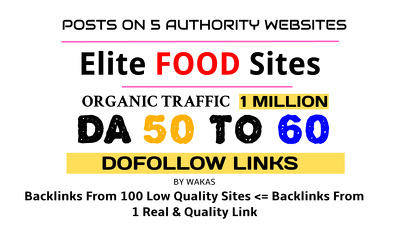 Publish 5 Guest Posts on Food Niche DA 50 + Dofollow Link