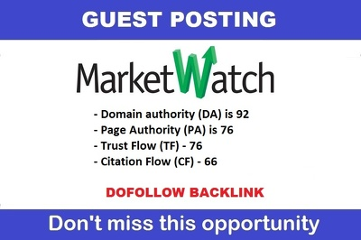 Publish a guest post on Marketwatch.com DA92, PA72