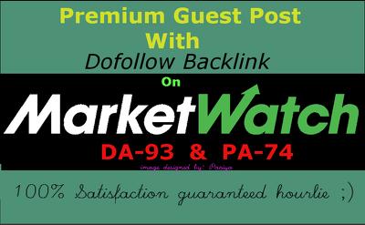 Write & publish Dofollow guestpost on Marketwatch.com DA-93