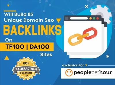 build 85 Unique Domain SEO Backlinks on TF100, DA100 Websites.