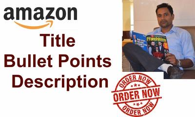 Write  Amazon Title, Bullet Points And Description, 1 Product