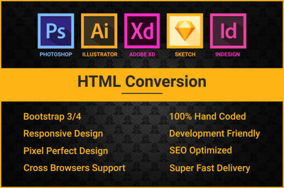 Design Sketch, Xd, Psd To Html Responsive Bootstrap web template