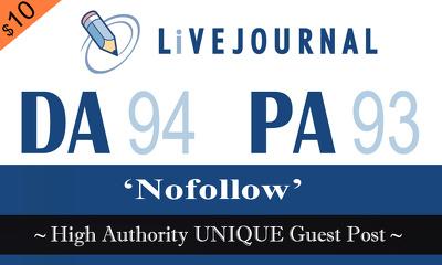 """Publish UNIQUE Guest Post on """" LIVEJOURNAL"""" DA-94"""