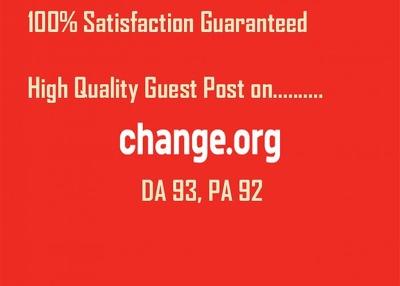 Publish a Guest Post on Change.org, DA 93