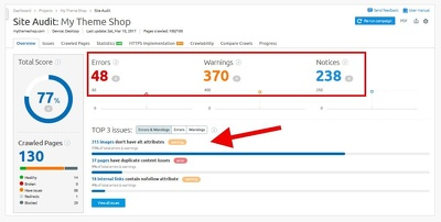 Produce a detailed SEO audit report of your website