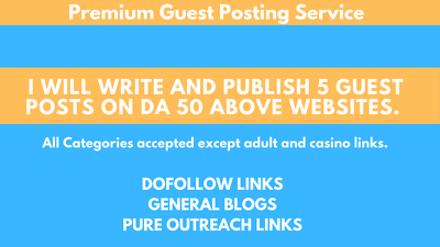 Write and publish 5 Guest Posts On Da 50 Plus Websites