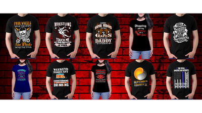 Create eye catching typography and vintage t shirt design