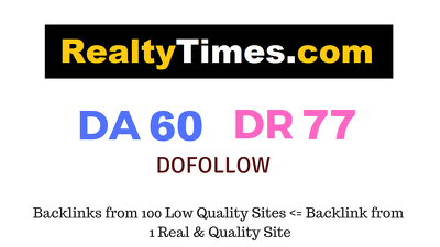 Publish Guest Post on Realtytimes.com DA 60 DR 77