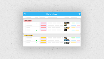 Bespoke social media planner template for 5 networks