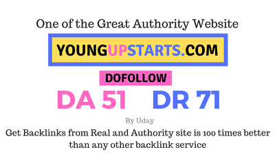 Publish a guest post on YoungUpStarts.com DA51, DR71