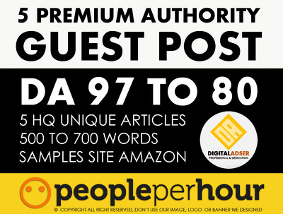 5 Premium Guest post DA [97 to 80] - DOFOLLOW SITES