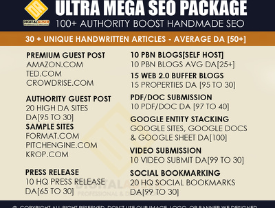 Ultra Mega SEO Pack | 100+ Handmade whitehat links | Avg DA 50+