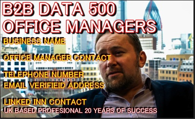Provide 500 B2B UK office manager contact,tel,email, linkedin