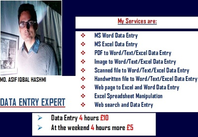Do 4 hours data entry work for £10