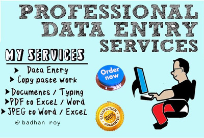Do all kind of data entry jobs for 1 hours