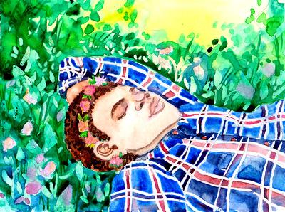 Draw watercolor children book illustration