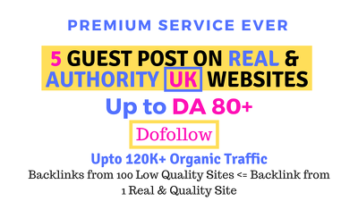 Publish guest posts on 5 authority UK websites