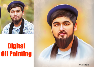 Draw Your Picture Like A Digital Oil Painting Portrait Gift