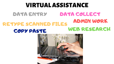 Provide Virtual assistance/data entry support starting 1 hr