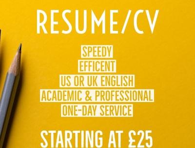 Write SAME DAY resume/ CV
