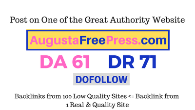 Publish a guest post on Augustafreepress.com DA61, DR71