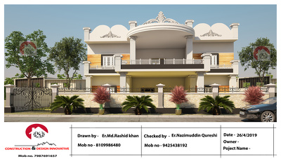 Design exterior elevation with traditional 3d visualization