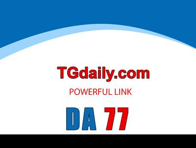 Guest posting on tgdaily – tgdaily.com – DA 72