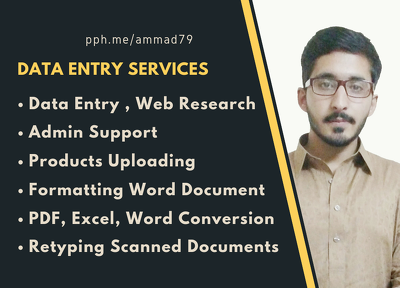 Do data entry, web research and virtual assistance for 2 hour