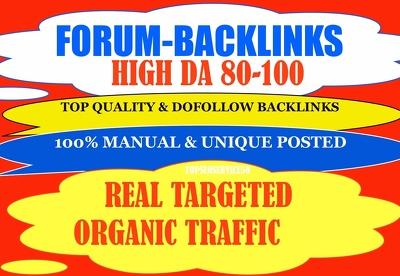 20 High DA forum posting backlinks with targated web traffic