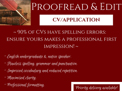 Proofread, copy edit and format job application documents