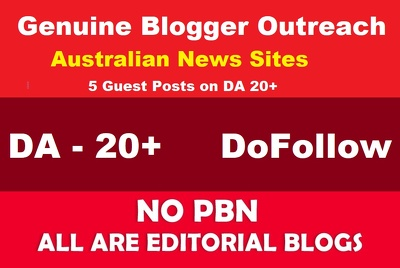 5 Guest Posts on DA 20+ Australian News Blog -NO PBN - Dofollow