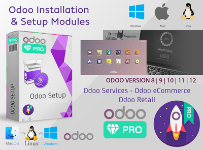 Install odoo 9, 10, 11 and 12 and setup the requested modules.