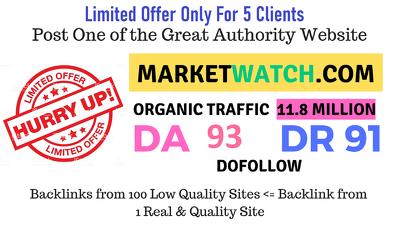 Guest post on MarketWatch- Marketwatch.com (3 days Left)
