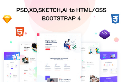 Convert Psd To Html, Sketch To Html, Xd To Html Responsive