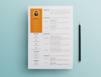 Design single page professional resume/CV