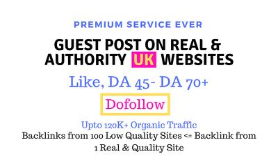 Publish guest posts on 5 authority UK websites