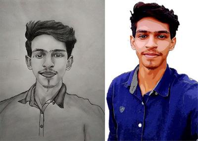 Draw a realistic pencil or digital portrait drawing