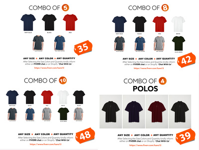 Unisex Ring Spun Combed Cotton T-Shirts (combo of 8)