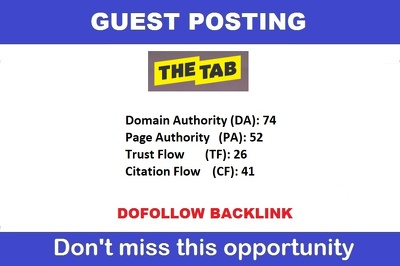 Publish a guest post on Thetab - Thetab.com - DA 74, PA 52