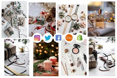 Christmas social media photography bundle x15 images bundle