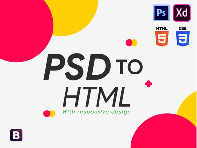 Convert your psd adobe xd to html css responsive bootstrap